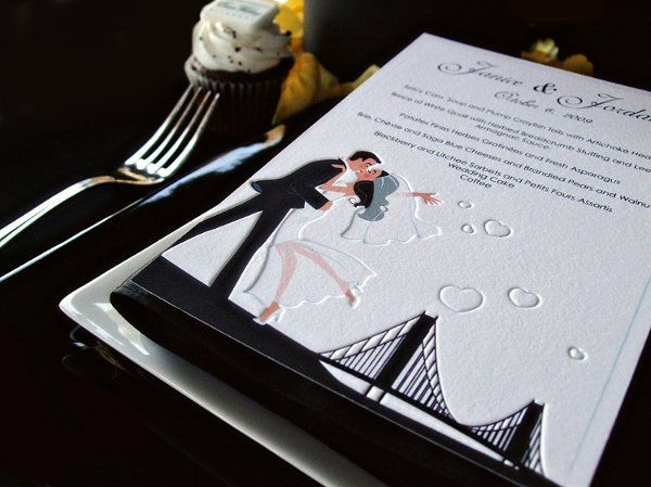 wedding menu with a personalized illustration