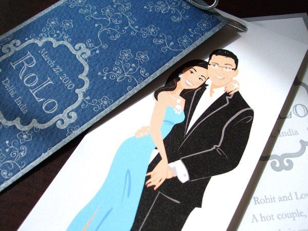 three part wedding favors: on the first page with a custom designed pattern and logo, on the second...