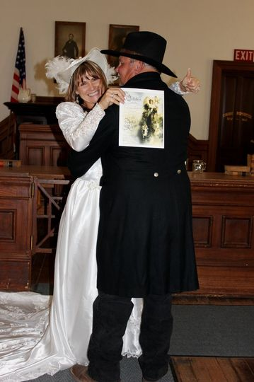Wedding Ceremony at The Courthouse Museum. Costume Rental & Photography by Sadie Jo Tombstone...