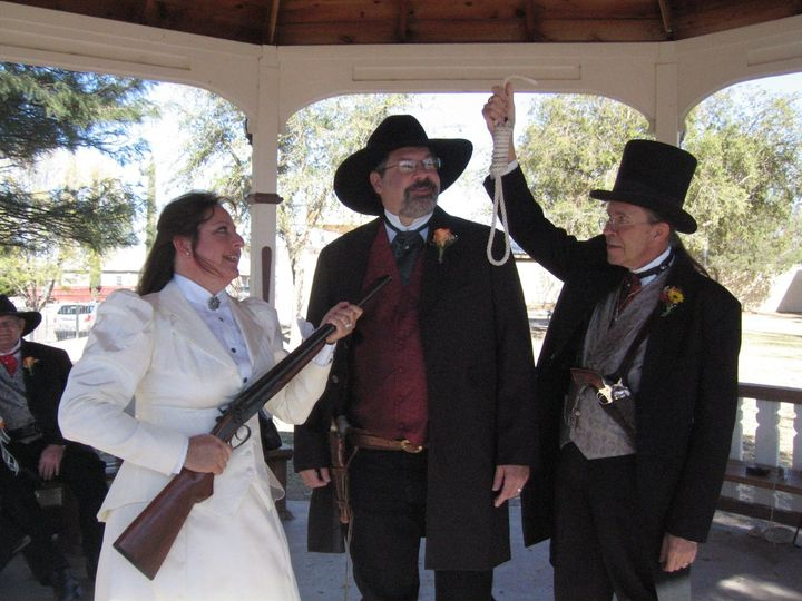 Wedding Ceremony at The City Park Gazebo. Costume Rental & Photography by Sadie Jo Tombstone Costume...