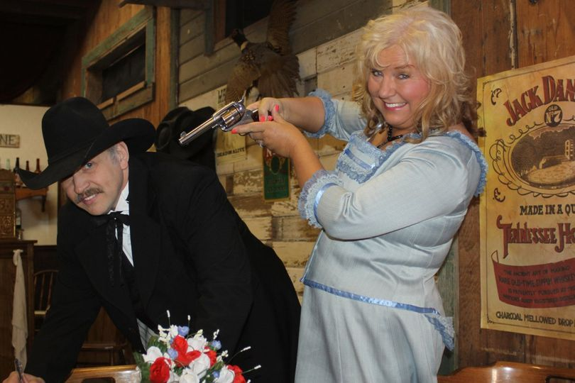 Wedding Ceremony at The Wyatt Earp Theatre. Costume Rental & Photography by Sadie Jo Tombstone...