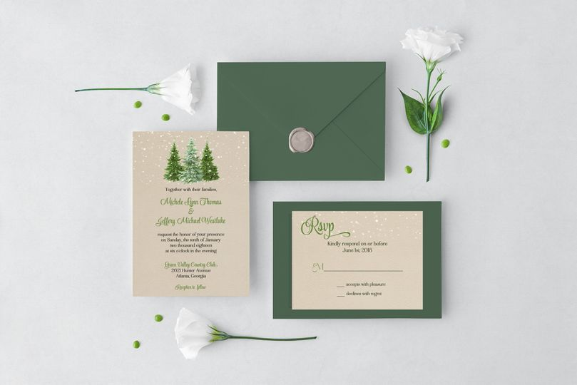 Winter woodland wedding set