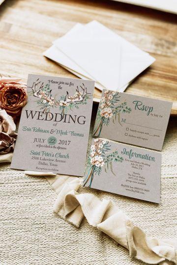 Boho Cotton Wedding Invitation