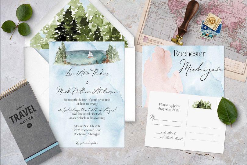 Michigan Watercolor Wedding