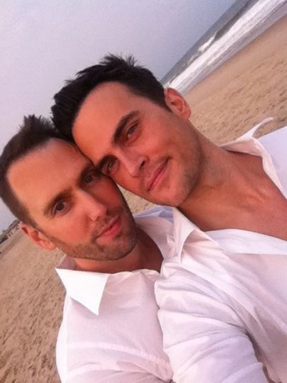 Star of 30 Rock and Glee Cheyenne jackson with long-time partner Monte Lapke