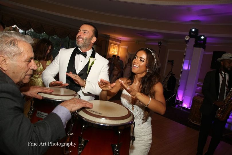 Bride and groom on congas