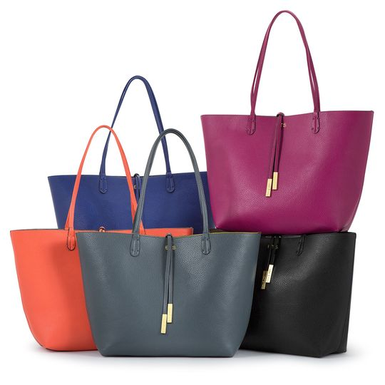 The perfect maid-of-honor gift: A reversible tote bag, personalized with her metallic initials