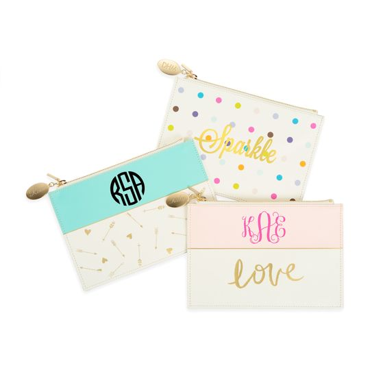 Personalize versatile, carry-all clutches with your bridesmaids' names or monograms.