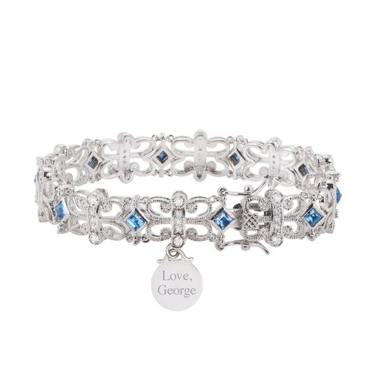 Something blue: Personalize this bracelet with your new monogram for your trip down the aisle.