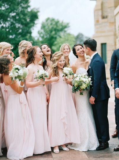 Couple with their bridal attendants