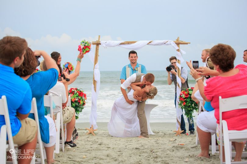 Romantic wedding kiss