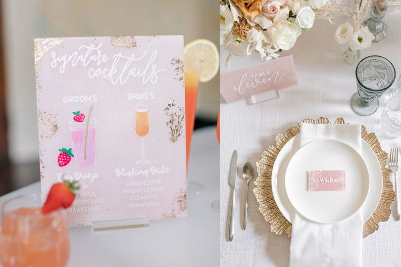Signature drinks & place cards