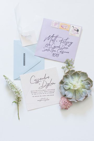 Synth wave inspired invitations