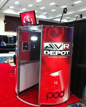 A booth with the optional custom outside wrap.  Brand/customize our booth however you would like!
