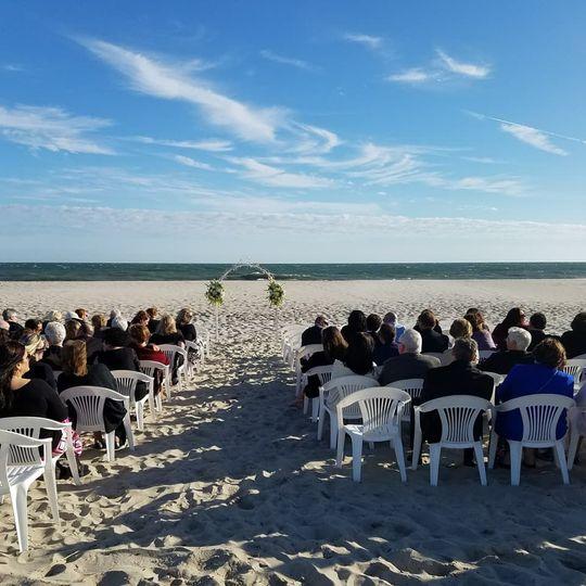 Beach wedding set up