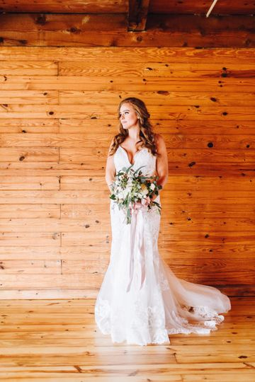 Bride inside barn