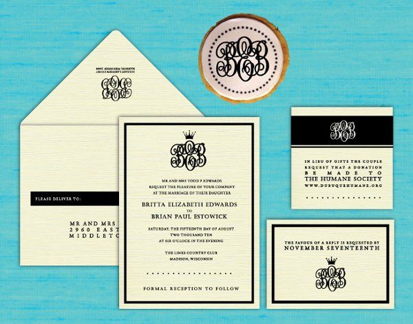 Tmx 1274374343526 Monogramandcrown Dubuque wedding invitation