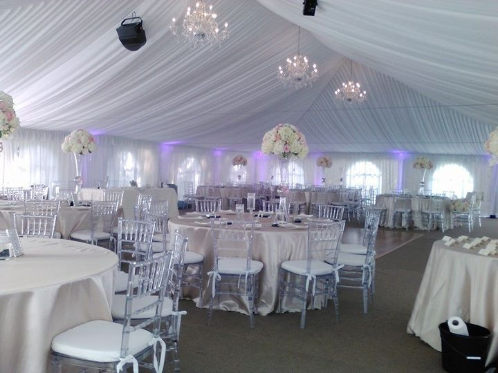 Reception tent setup and lighting