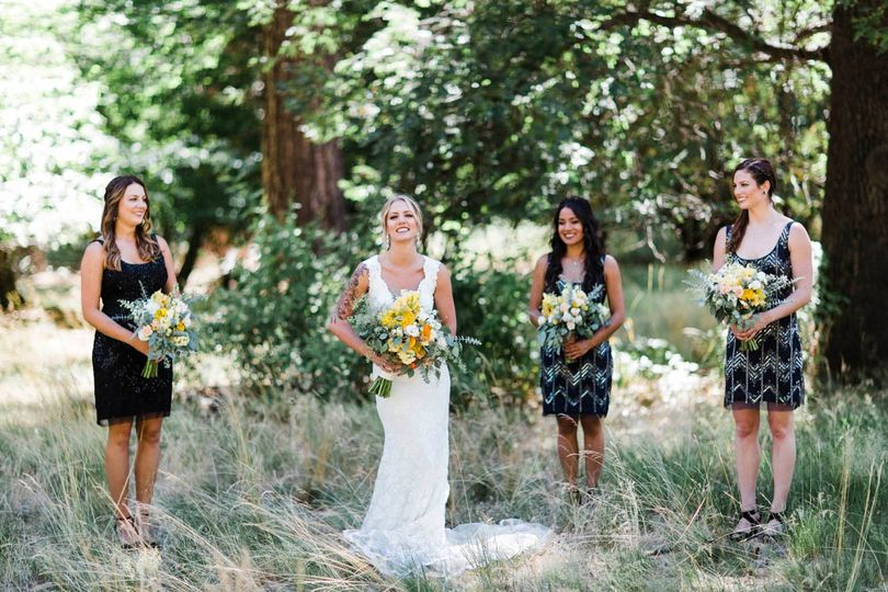 Bridal party in the park