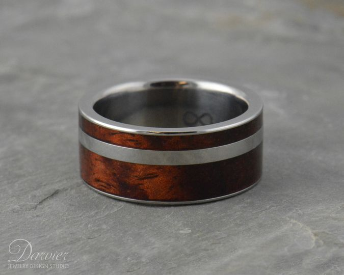 Custom Koa wood inlay in Titanium. Design your own with several wood species to choose from.