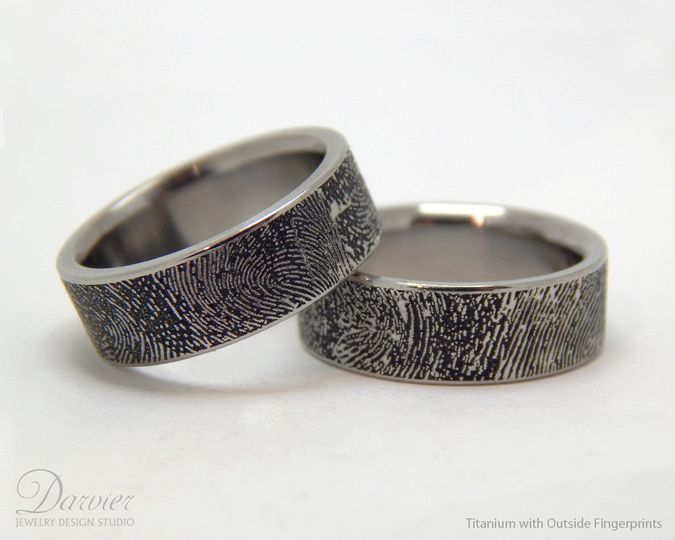 Forensically accurate laser engraving of your fingerprints inside or outside of your custom wedding...