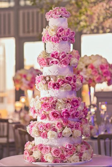 Gorgeous showstopper of a wedding cake with fondant lace and fresh floral - this was almost 5 ft...