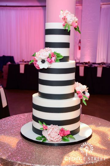 Kate Spade inspired black and white striped cakes that are each double height with pops of gorgeous...