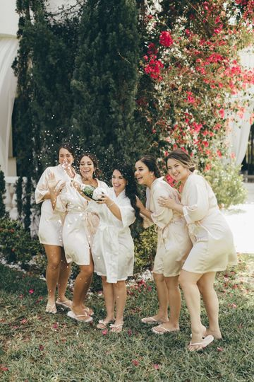 Champagne with Bridesmaids