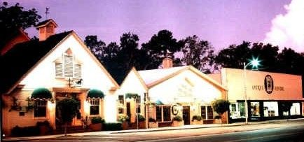 A lovely evening shot of The Gift Horse Restaurant & Antique Malls.