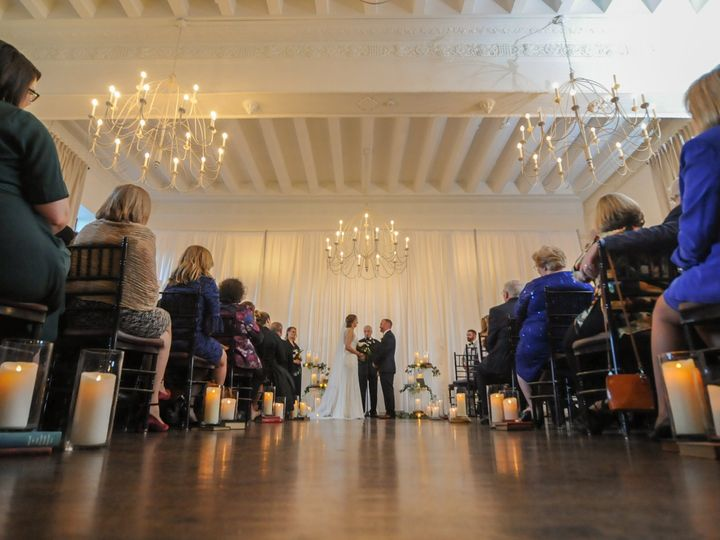 Tmx Alden Castle Vintage Ballroom Ceremony Bride And Groom Candles And Book Lined Aisles Angled Wide Shot Edson Dias Photography 51 3759 Brookline, MA wedding venue