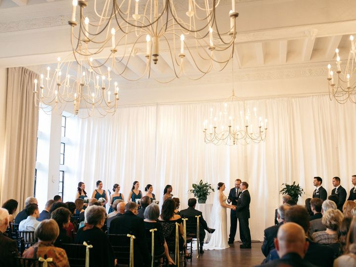 Tmx Alden Castle Vintage Ballroom Ceremony Ribbons And Potted Greens Couple At End Of Aisle Baileyqphoto 51 3759 158464307785202 Brookline, MA wedding venue