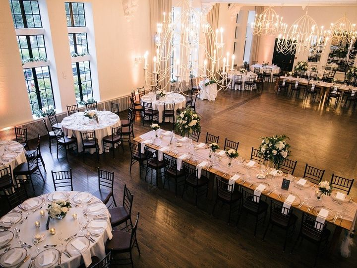 Tmx Alden Castle Vintage Ballroom Circle And Farm Tables From Above Zev Fisher Photo 51 3759 158464311188223 Brookline, MA wedding venue