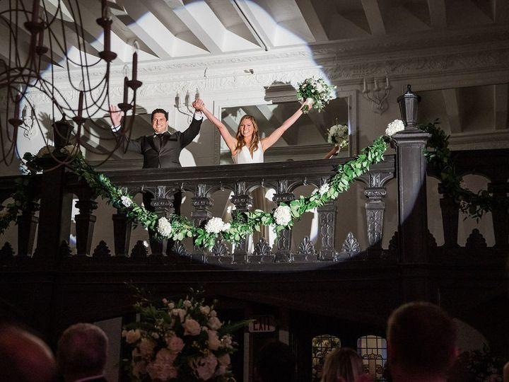 Tmx Alden Castle Vintage Ballroom Couple On Mezz With Spotlight Amanda Macdonald Photography 51 3759 158464309671295 Brookline, MA wedding venue