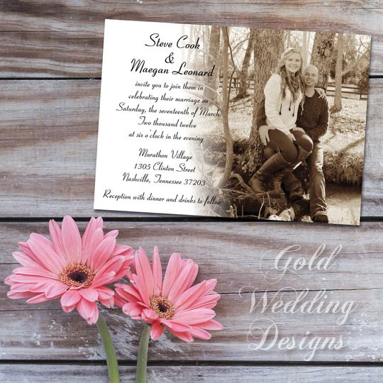 Sepia tone invitation created with an engagement photo
