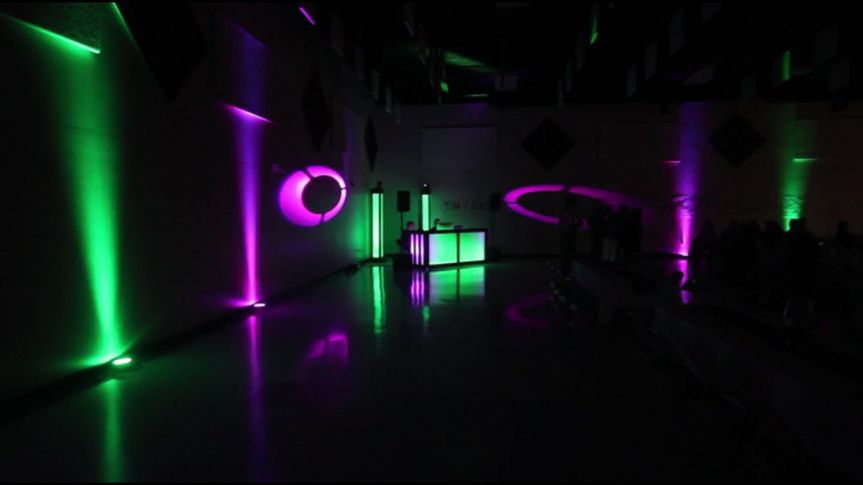 Purple and green uplighting