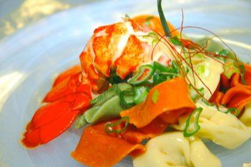 New Brunswick Lobster Salad with Tortellini, Carrots, Scallions, and Saffron in a Light White Wine...