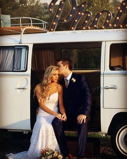 Newlyweds in the van