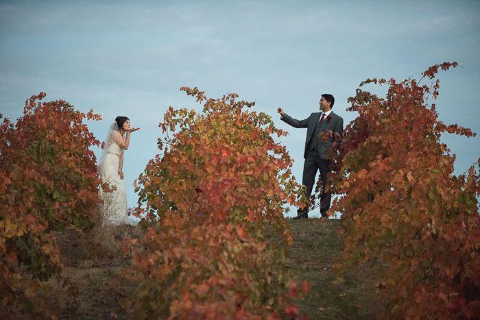 Throwing kisses in the vineyards at Club Los Meganos Brentwood CA