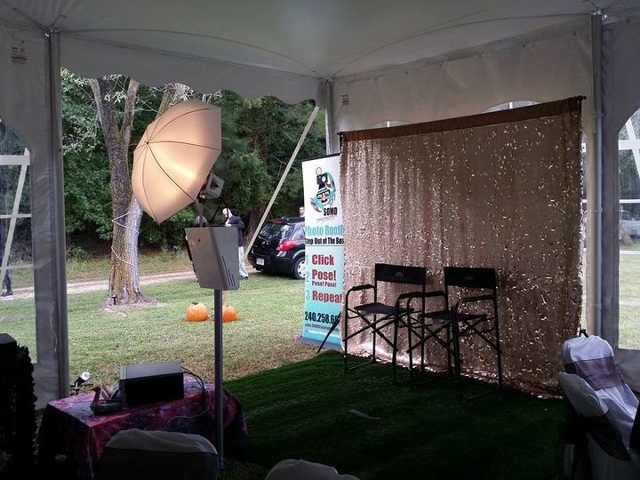 Our photo booth set up with the gold sequined backdrop. If elegance is what you are looking for,...