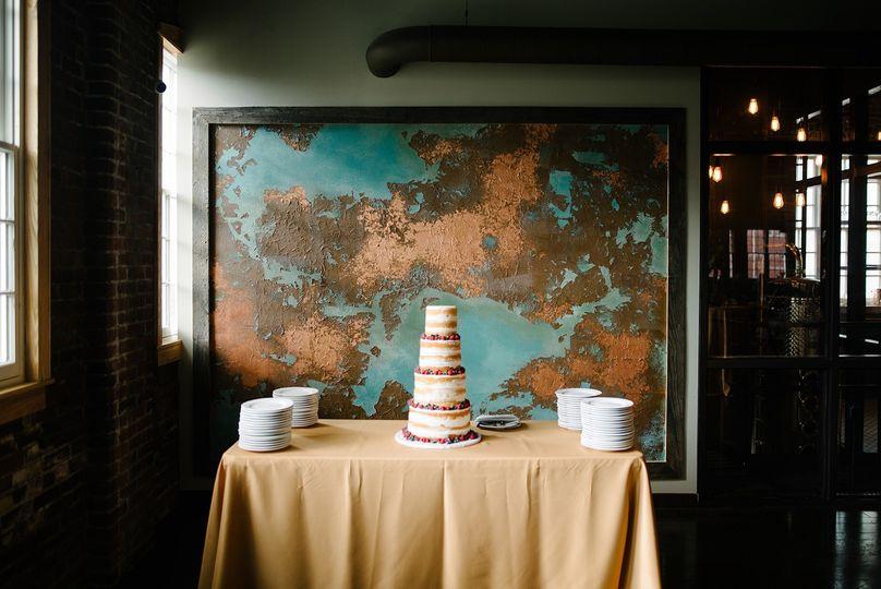 Custom Art Wall and Wedding Cake