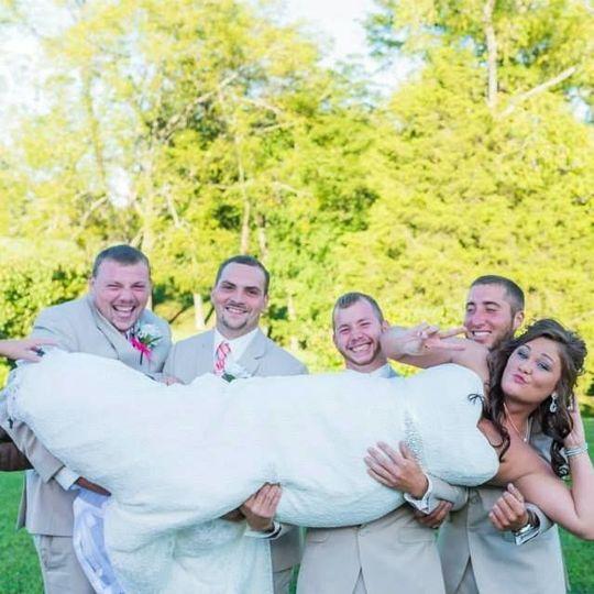 Bride with the groomsmen