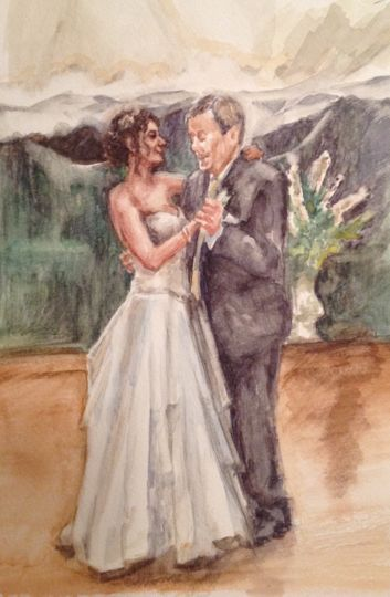 Small watercolor of father/daughter dance
