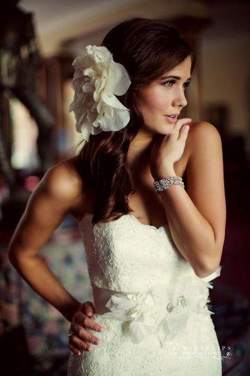 Bridal hair and flower