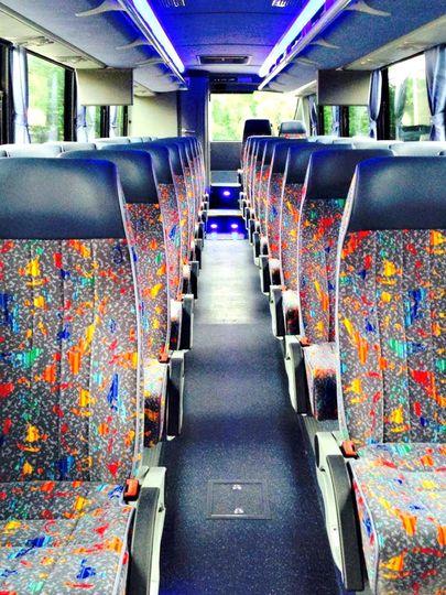Inside 38 Passenger Coach Bus