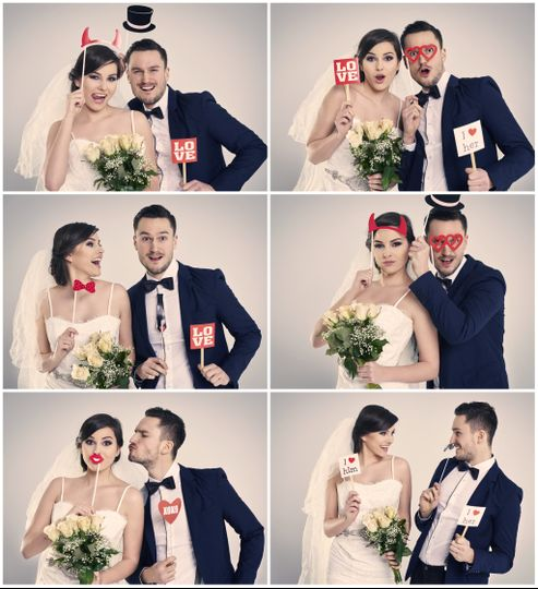 Bride and groom photo strip