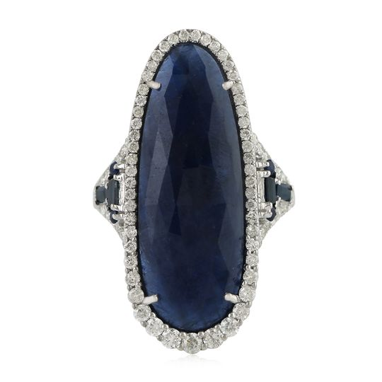 Blue sapphire rings with pave