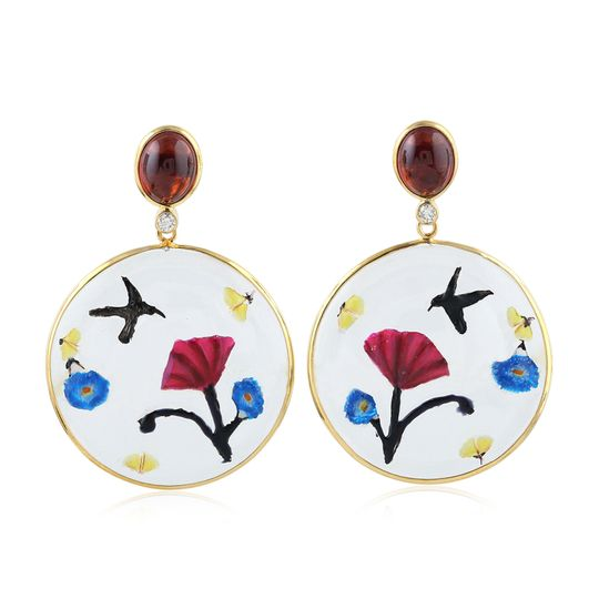 Gold hand painted earing