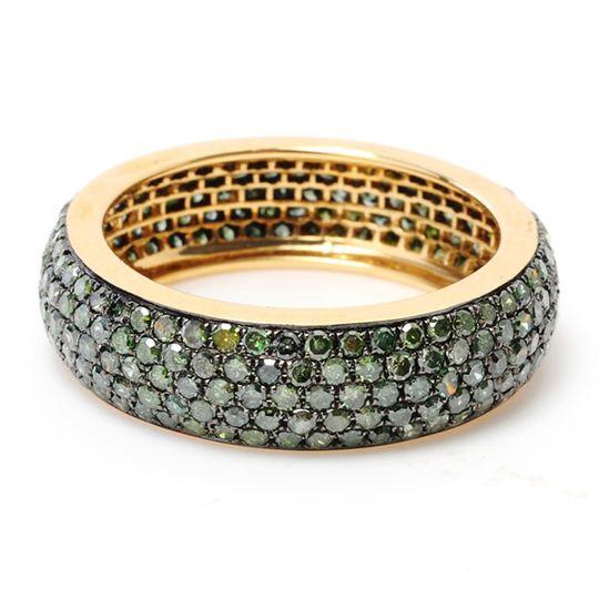 Pave Green diamond gold band