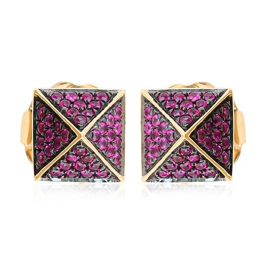Gold pave ruby spike earring