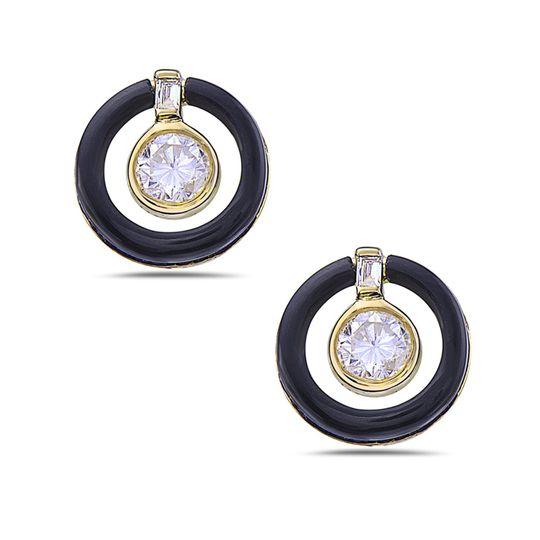 Black onyx and diamond earring